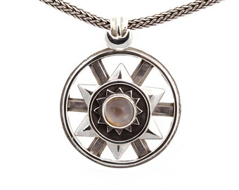 Kinetic #2/2 - Pendant - Sterling Silver - Peach Moonstone