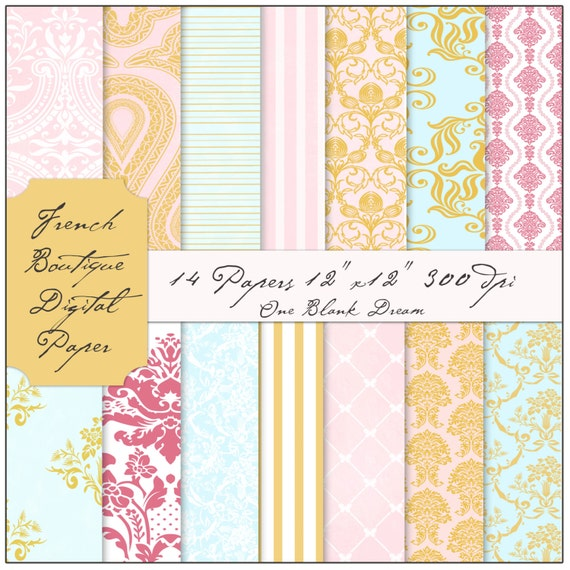 Instant Download French Boutique digital papers blue, flowers, pink and gold