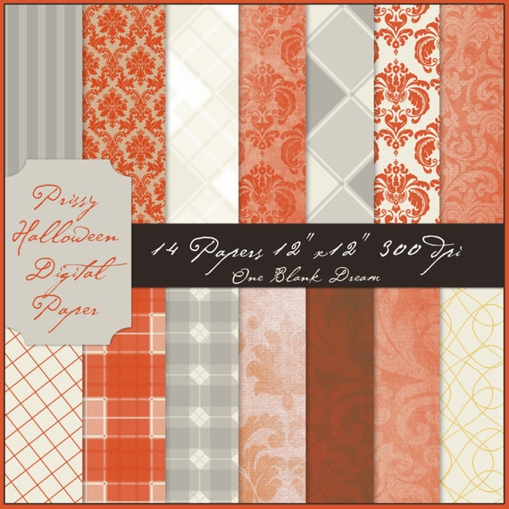 Instant Download Prissy Halloween digital papers brown, grey, orange, damask