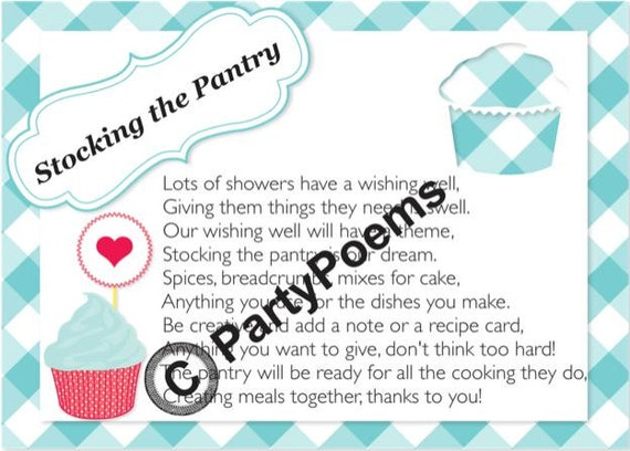 Stock the Pantry Theme Bridal Shower Poem inserts by ...