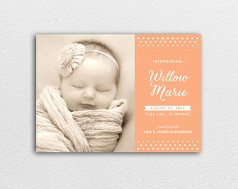 Baby Announcement Postcard & Envelope - Polka Dot