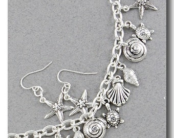 Beach Themed Charm Necklace and Earring Set W/ Shells, Starfish, Fish and Turtles  in (Silvertones)