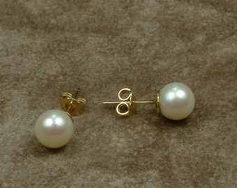 White Akoya Pearl Stud Earrings 8.5 - 9 mm (Σκουλαρίκια με Λευκά Μαργαριτάρια Akoya 8.5 - 9 mm)