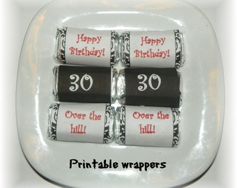 30th Birthday Printable Mini Hershey candy wrapper (DIY) Instant Download