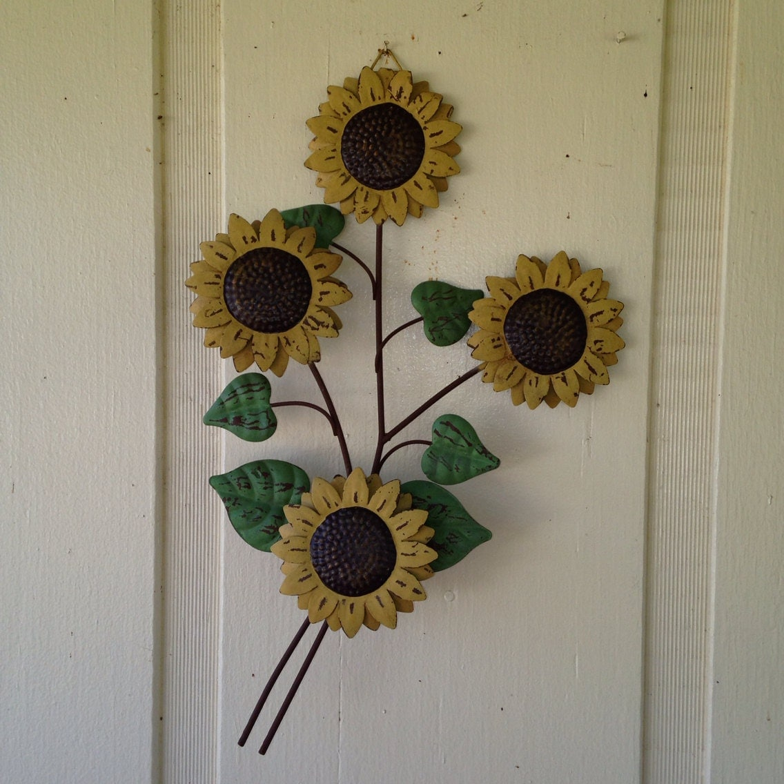 rustic sunflower art metal wall hanging weathered by antiquedangel. Black Bedroom Furniture Sets. Home Design Ideas