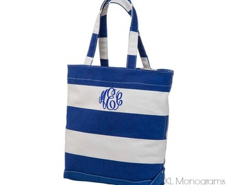 Navy Striped Monogrammed Canvas Tote Bag