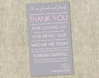 Wedding Thank You Card, Reception Thank You Card, To Our Friends and Family - PRINTABLE / DIY