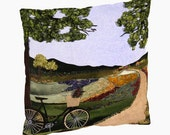 "16"" X 16""  Bicycle -  pillow, with black or ivory back"