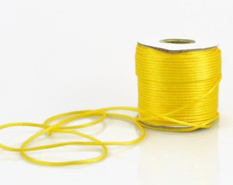 2mm YELLOW SATIN STRING - Bright Yellow / Sunshine Yellow / Canary Yellow Cord (2mm diameter) sold by 5m length