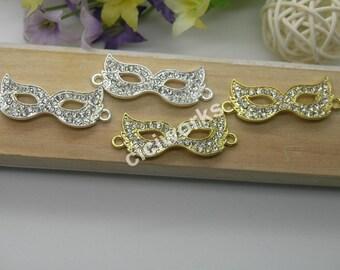 10pcs Curved Side Ways Crystal Alloy Rhinestone Mask Bracelet Connector Charm Beads MCC78
