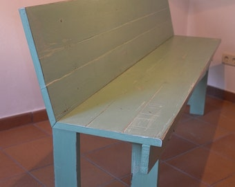 Painted rustic wooden bench