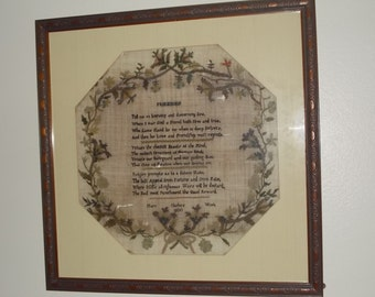 Outstanding 19th Century Large Antique Sampler Dated 1800 Embroidery Needlework