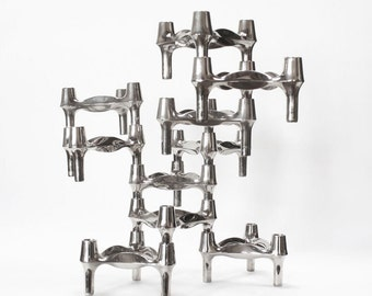 Vintage Sculptural Candle Holders by BMF Germany - set of 10