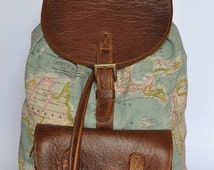 Genuine Leather and World Map Atlas Print large Backpack. Check about urgent orders in our details. XL are free for 1 month.