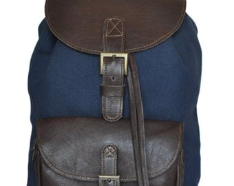 Genuine Leather and Navy Canvas Backpack