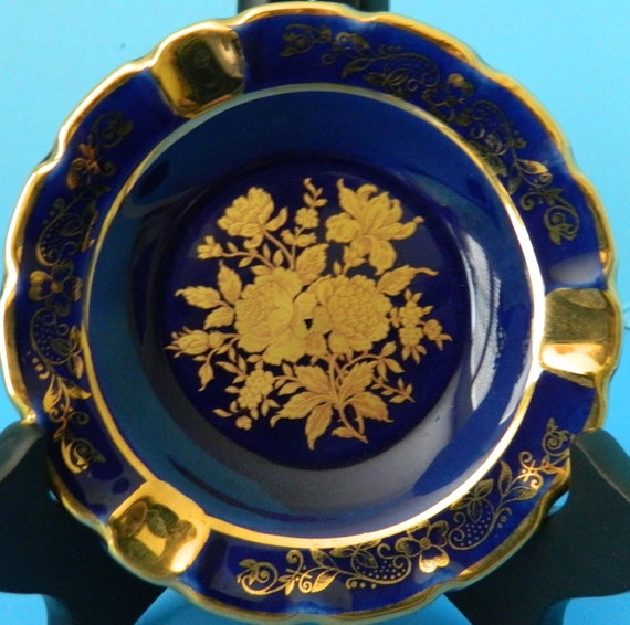 items similar to rare limoges france veritable porcelaine d 39 art cobalt blue and gold ashtray. Black Bedroom Furniture Sets. Home Design Ideas