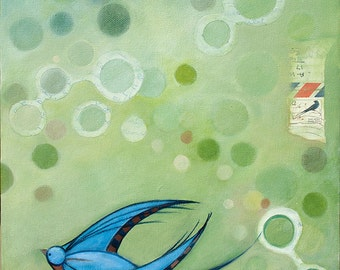 Art print blue swallow mixed media painting
