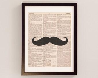 Vintage Mustache Dictionary Print - Moustache Art - Print on Vintage Dictionary Paper - Gift for Him - Mustache Print - Funny Gift Idea