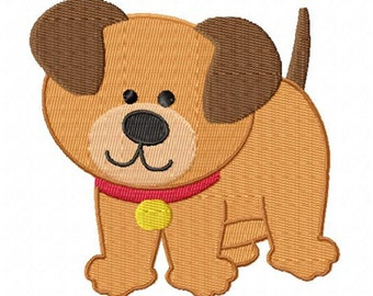 4X4 Brown Puppy Dog Machine Embroidery Design Multiple Formats Available - Instant Download