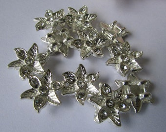 10pcs of Silver Rhinestones Flower Connector,Flower Connector