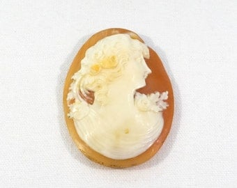 Victorian Carved Shell Cameo - Lady with Flowers - Big Antique Cameo