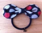 Japanese Black Polka Dot Hair Bow. Japanese hairbow. Japanese Hair Ribbon. Japanese elastic hair bow. . Hair tie. Ponytail holder.