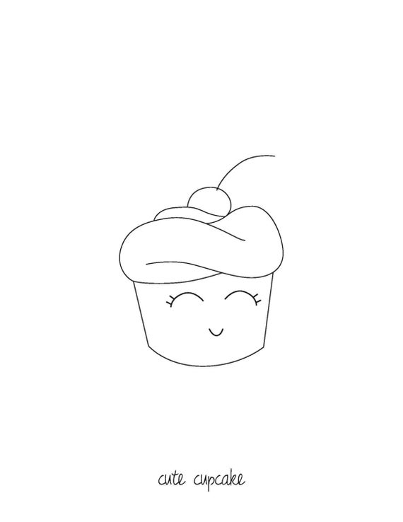 items similar to downloadable coloring page cute cupcake on etsy