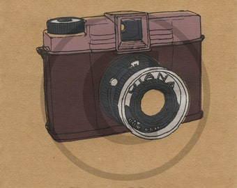 Screenprint of Vintage Diana Camera - Five Layer Portrait Format Screenprint, Red/Pink/Silver/Dark Grey on Brown Heavyweight Art Paper