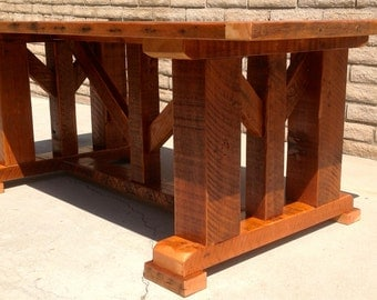 Barnwood Dining Table with Timber Frame (Reclaimed Wood)