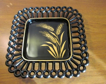 "luncheon plate glass black square 8""  with painted gold wheat sheaf Westmoreland  Glass circle and spoke pattern on edge"
