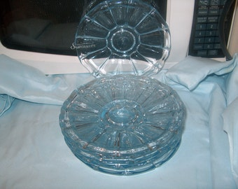 6 Vintage Light Blue Glass Plates, Saucers or Liners, Ground Bottom, WAS 25.00 - 50% = 12.50
