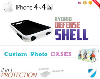 Custom iPhone 4 / 4S Cases - Hybrid Defense Shell - Personalized Photo / Picture Protection Cases! Keep your iPhone Safe + Secure!!