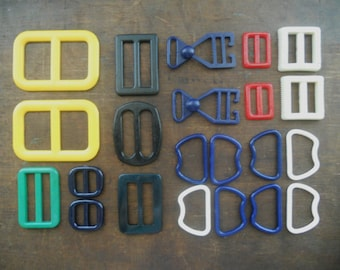 Soviet vintage sewing supplies Soviet belt buckles Plastic buckles Mixed colorful buckles USSR era 80s