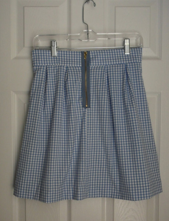 Kathryn Skirt in Gingham with blue exposed zipper