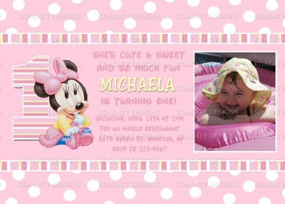 Minnie Mouse 1st Birthday Personalized Invitations Baby Minnie Mouse 1st First Birthday Invitations or Thank You Card With