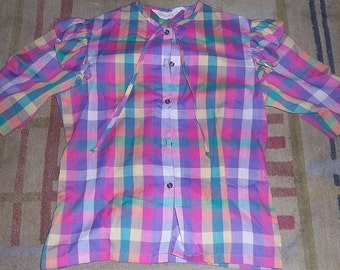 Women's/Girls Vintage Cheryl Tiegs Blouse/Top Plaid 1980s Multicolored Sears