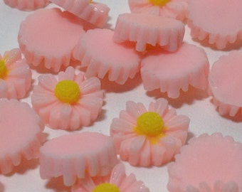 10 Pink Color Daisy Flower Cabochons - Flat Back (Scrapbooking & Crafts)