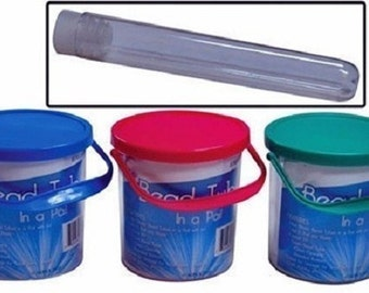 Plastic Bead Tube Storage Containers 24 Tubes In A Pail Choose Color