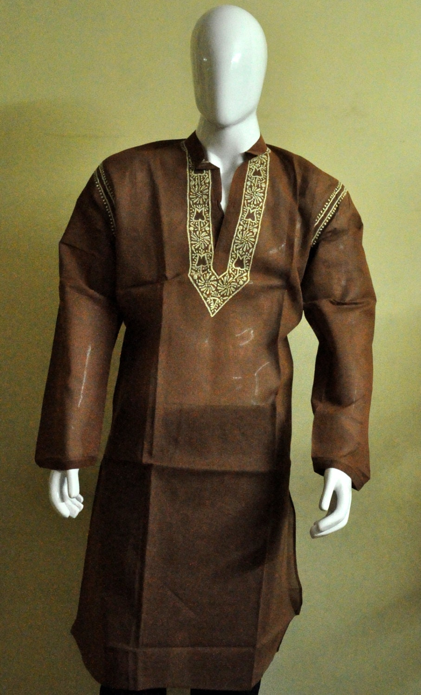 Mens Kaftan Pattern Brown Kurta Shirt Tunic Top Cotton Wedding