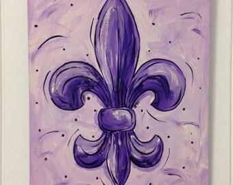 Purple Fleur de lis painting