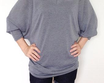 SC001: Light Gray Women Blouse, Oversized Tee, Dolman Sleeve Top, Oversized Top, V Neck Tee, Ladies Tshirt, Casual Chic Women Top, Gray Tee