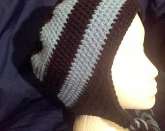 Blue and Black Ear Flap Hat