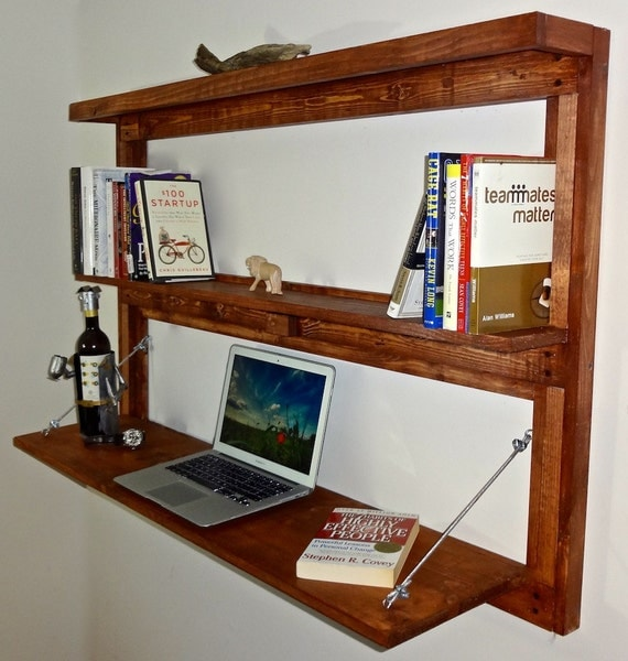 Items Similar To Rustic Wall Mounted Fold Out Desk With