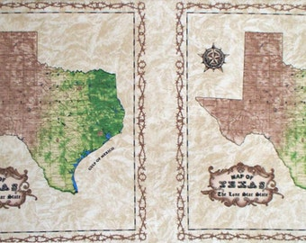 "Texas Map Brown cotton panel -- approximately 23"" x 44"""