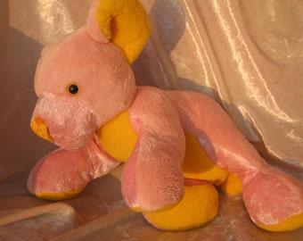 PASTEL PINK BEAR Baby shower, pink bear nursery decor, pink bear soft toy, stuffed bear pink pastel yellow, handmade bear stuffed animal