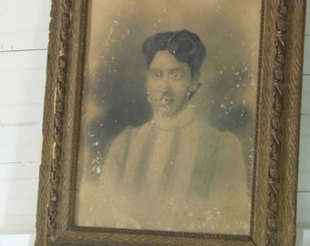 Antique Charcoal Portrait  Free Shipping!