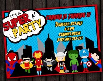 FAST ship! fast customized, superhero invitation, avengers, spiderman, ironman, batman, thor, FREE wording customization, avengers invite