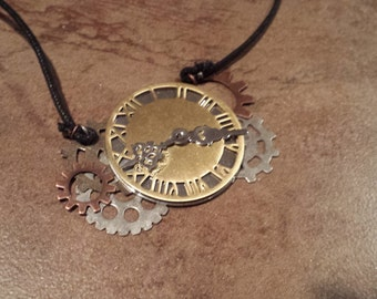 Clock and Gears Necklace