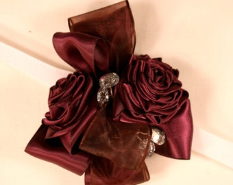 Satin Rose Wrist Corsage With Crystals