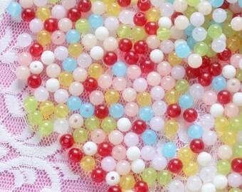 200Pcs 6mm Translucent Jelly Beads